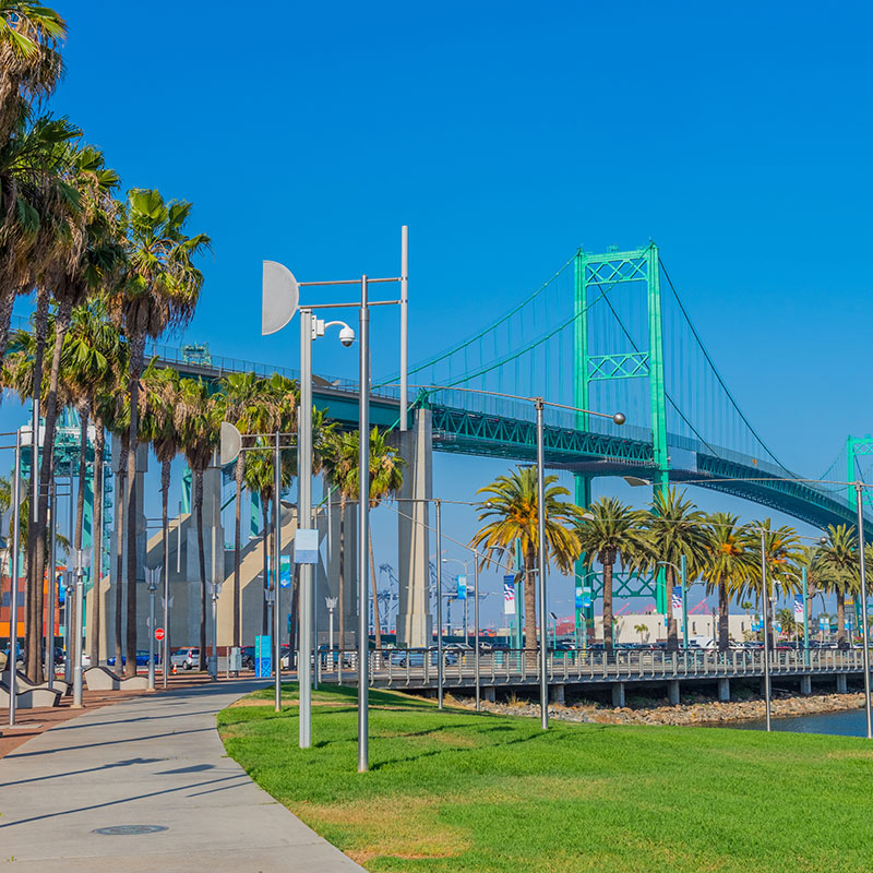 clickable image of San Pedro Bridge leading to the Arroyo Insurance Services San Pedro website